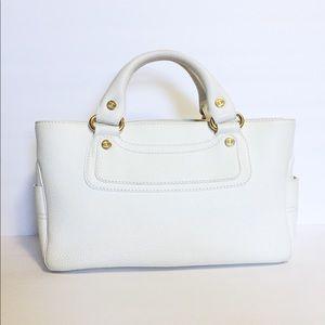 Celine white pebbled leather satchel tote handbag